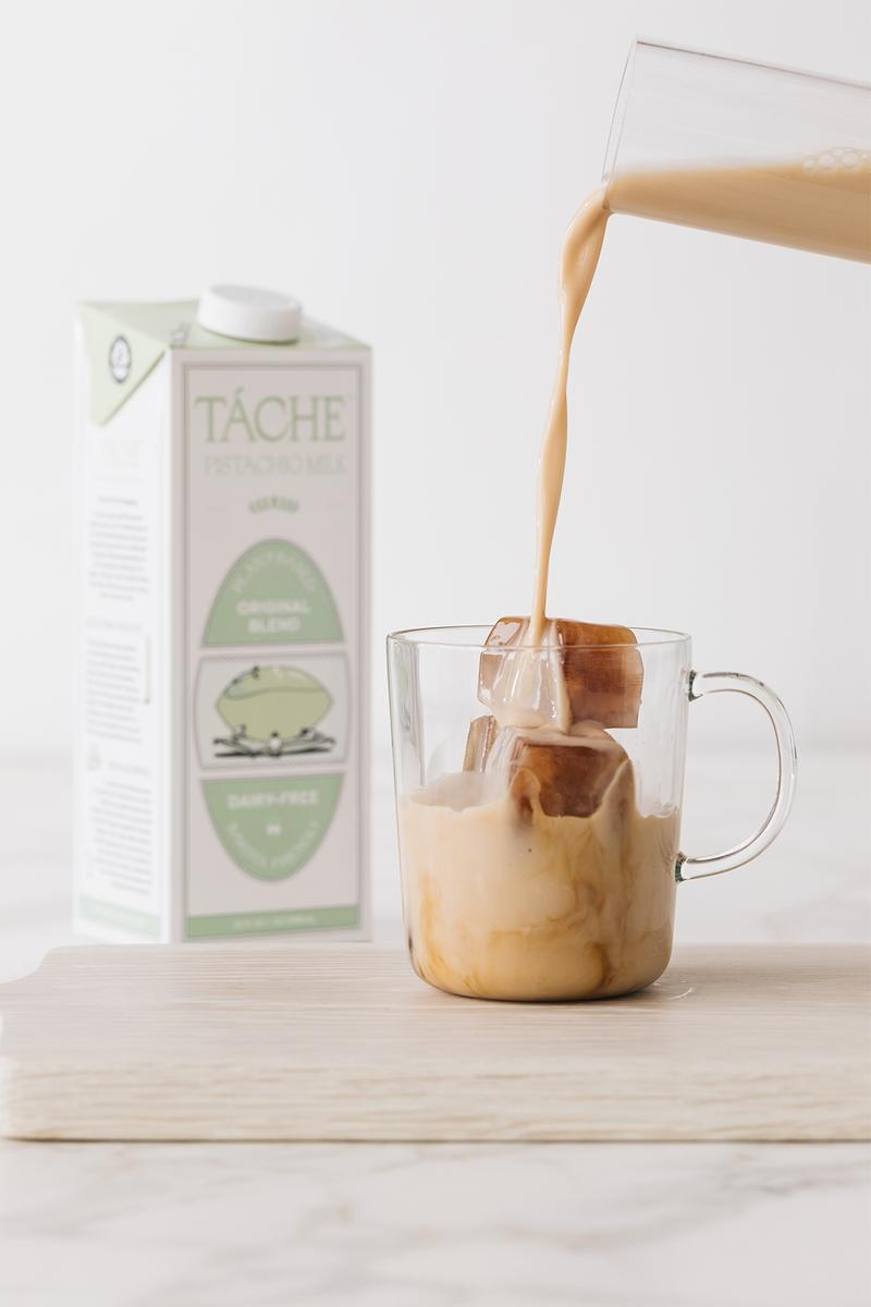 tache pistachio milk original blend unsweetened dairy free alternative green coffee fruits cake organic food drinks health natural