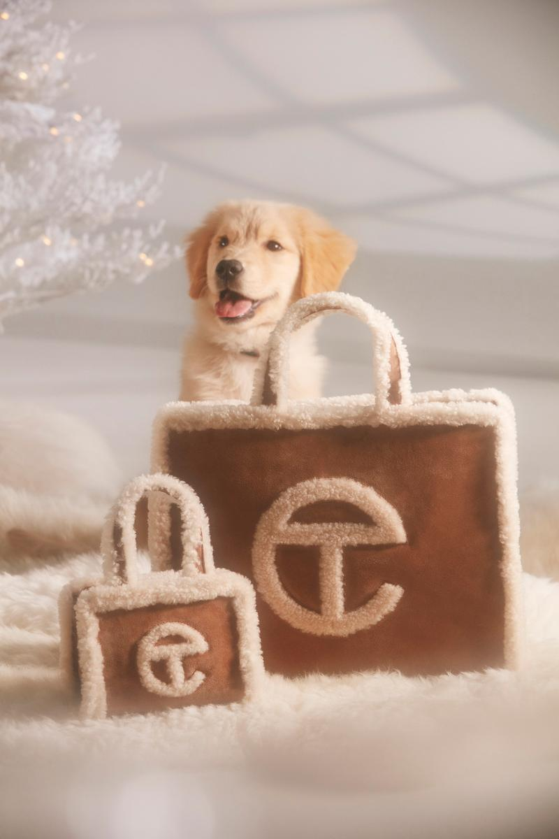 Telfar x UGG Shearling Tote Bag Pre-Order Release Logo Leather Chestnut Brown Christmas Card