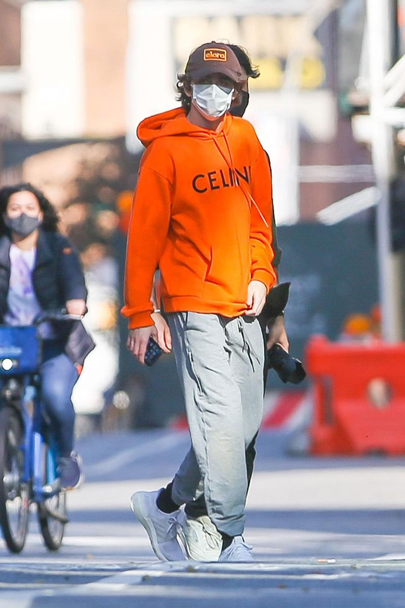 Timothee Chalamet Elara Pictures Hat Cap CELINE Hoodie Style Outfit New York City NYC