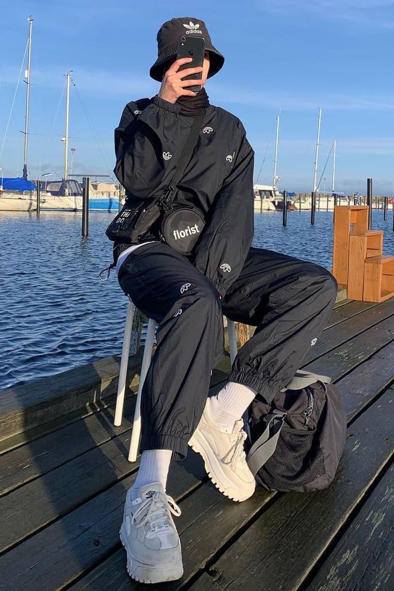 fall tracksuit style black adidas set bucket hat