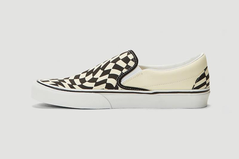 vans checkerboard slip on twist sneakers white cream black colorway sneakerhead footwear shoes