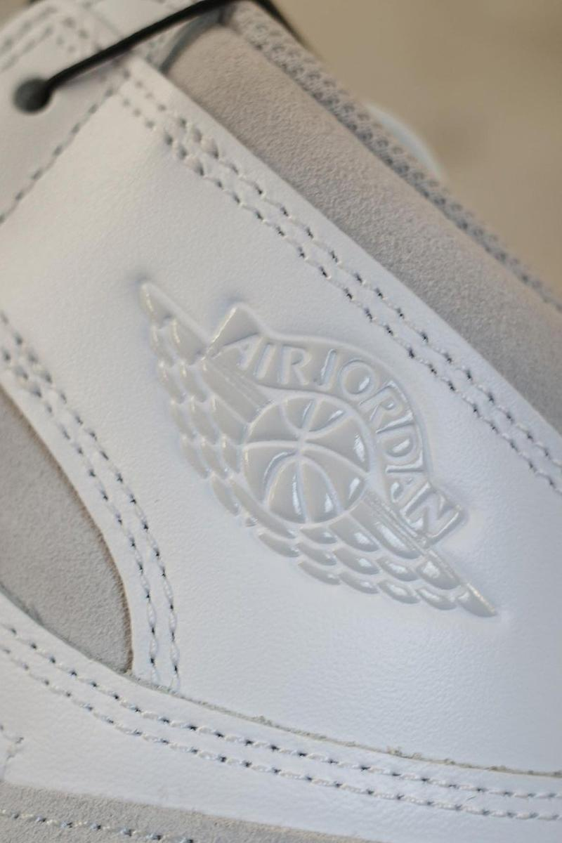 nike air jordan 1 high 85 neutral gray grey sneakers details close up emblem logo label