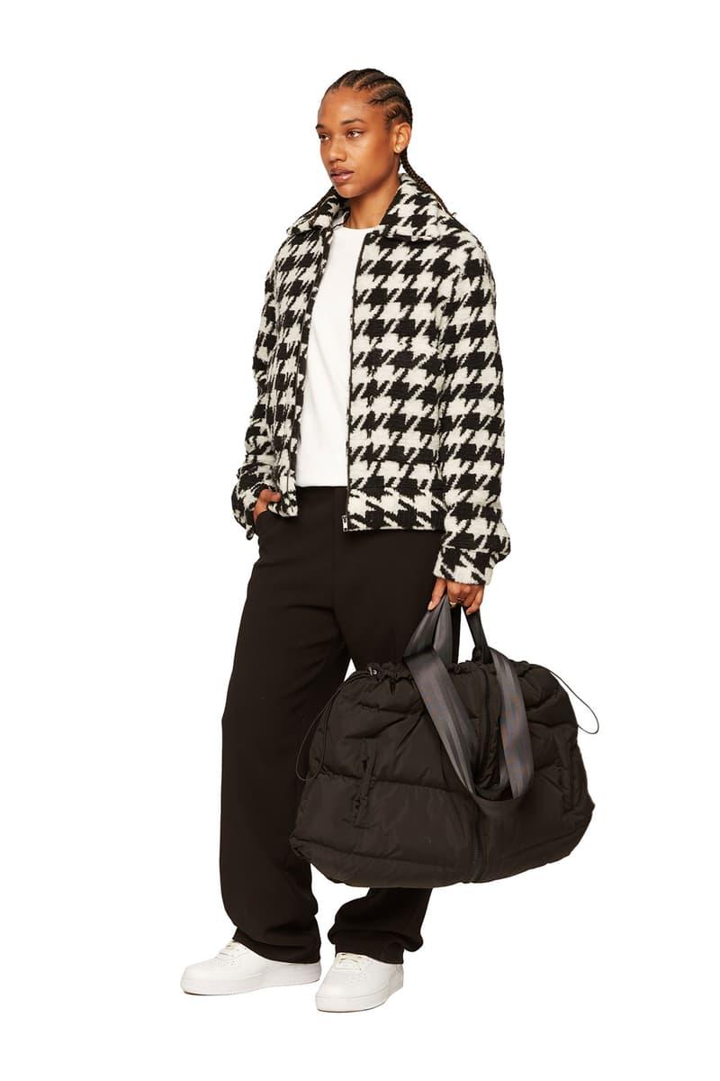 atelier new regime montreal brand fall winter lookbook houndstooth fleece jacket black trousers bag