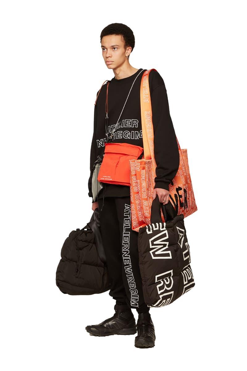 atelier new regime montreal brand fall winter lookbook logo black sweats tote bags