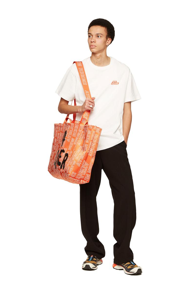 atelier new regime montreal brand fall winter lookbook white logo tshirt sweatpants orange bags