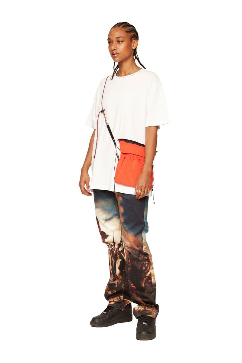 atelier new regime montreal brand fall winter lookbook white tshirt orange crossbody bag graphic trousers