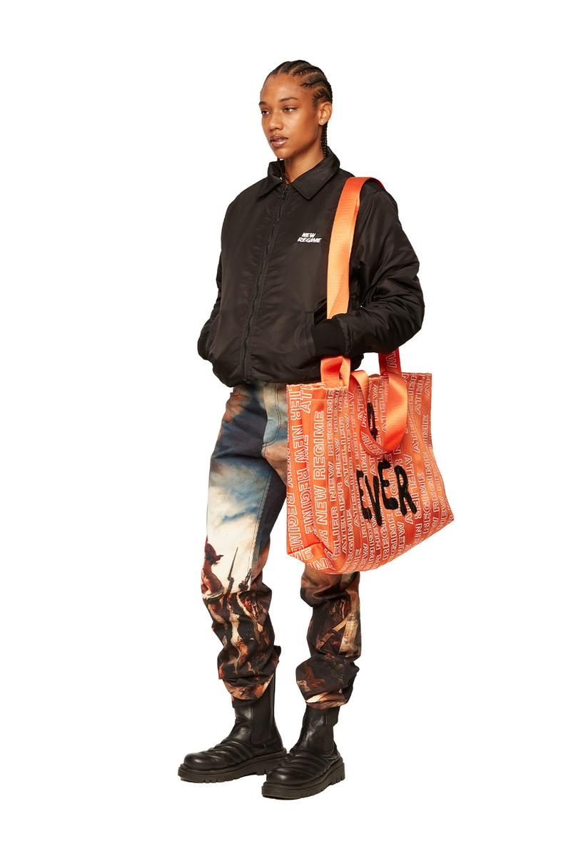 atelier new regime montreal brand fall winter lookbook bomber jacket graphic jeans trousers tote bag