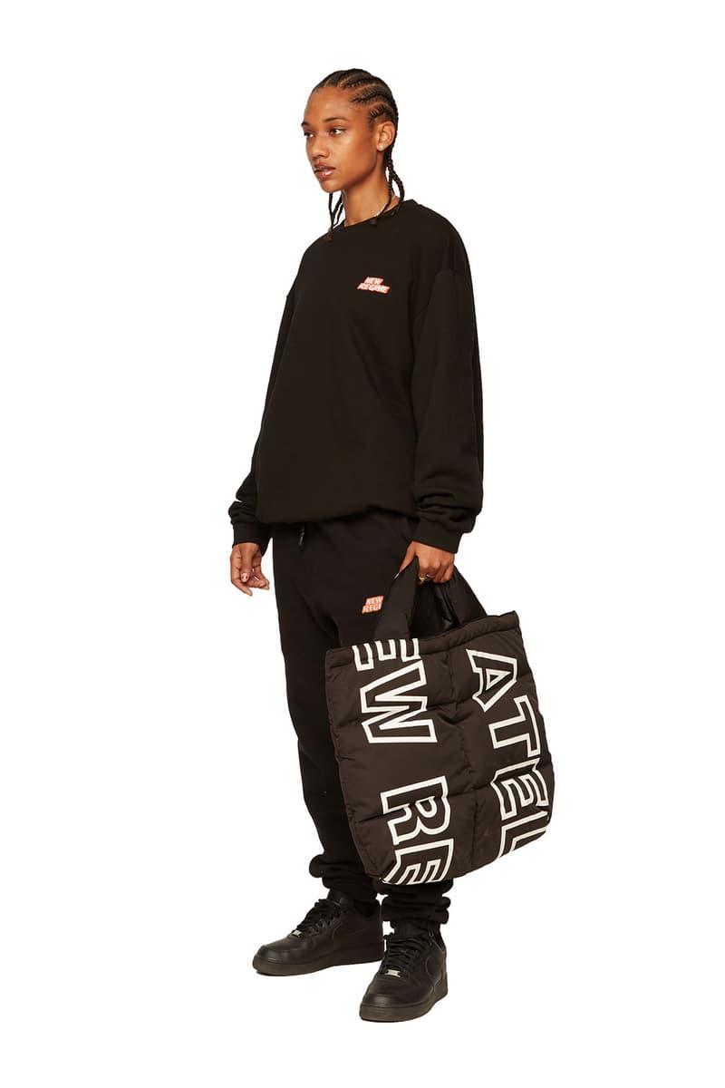 atelier new regime montreal brand fall winter lookbook black logo sweats tote bag puffer