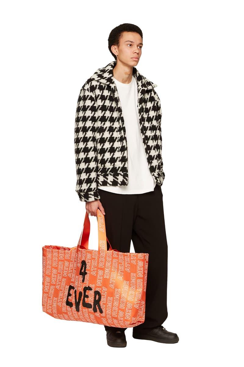 atelier new regime montreal brand fall winter lookbook houndstooth fleece jacket orange tote bag