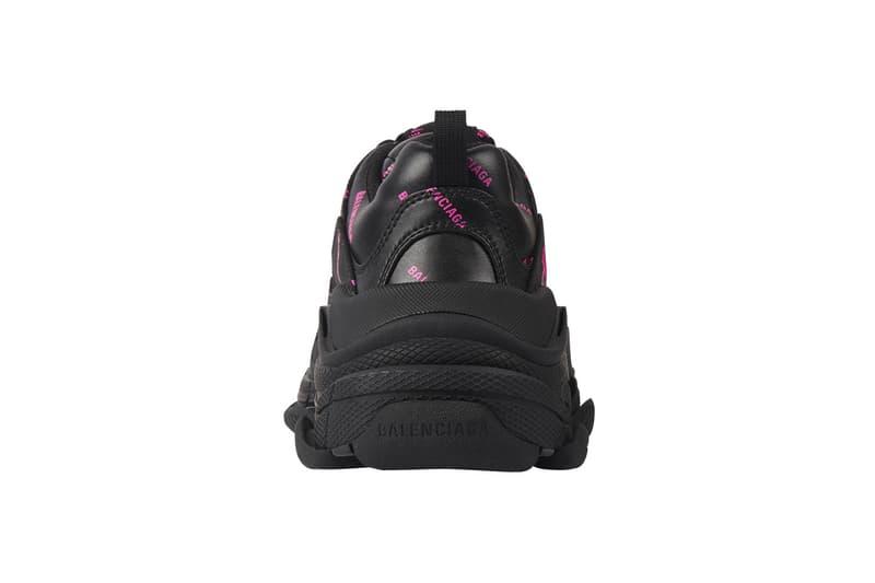 balenciaga triple s sneakers allover logo black pink sneakerhead footwear designer shoes