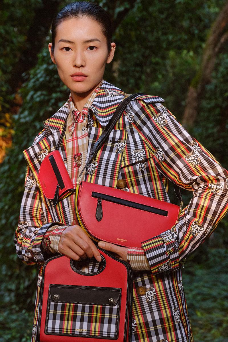 burberry lunar new year of the ox campaign collection feng li plaid coat red handbag pocket bag