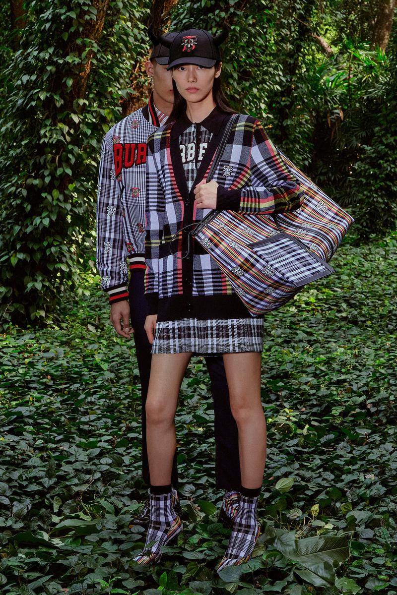 burberry lunar new year of the ox campaign collection feng li check plaid cardigan skirt