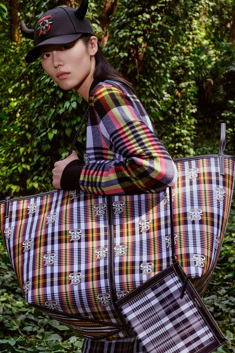 burberry lunar new year of the ox campaign collection feng li check plaid handbags shirt cap