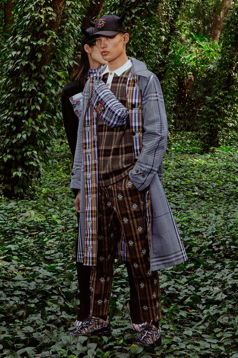 burberry lunar new year of the ox campaign collection feng li check plaid coat shirt trousers