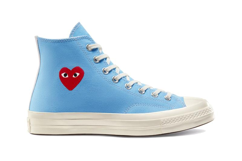 comme des garcons play cdg converse chuck 70 ox high low restock heart black white pink blue