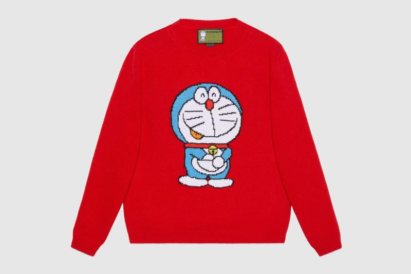 gucci doraemon capsule collaboration collection gg white hoodie red sweater knit