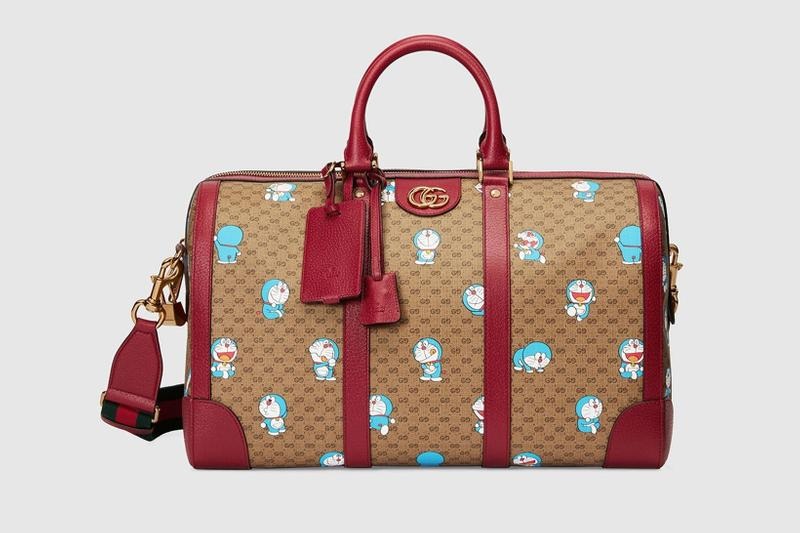 gucci doraemon capsule collaboration collection gg monogram duffle bag