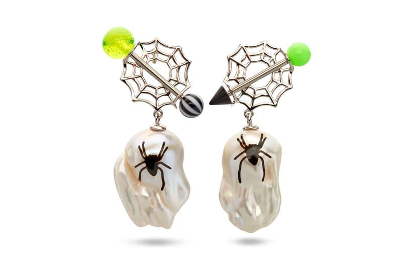 jiwinaia earrings ghost numb spider jewelry dover street market new york dsmny fluro rebellion launch