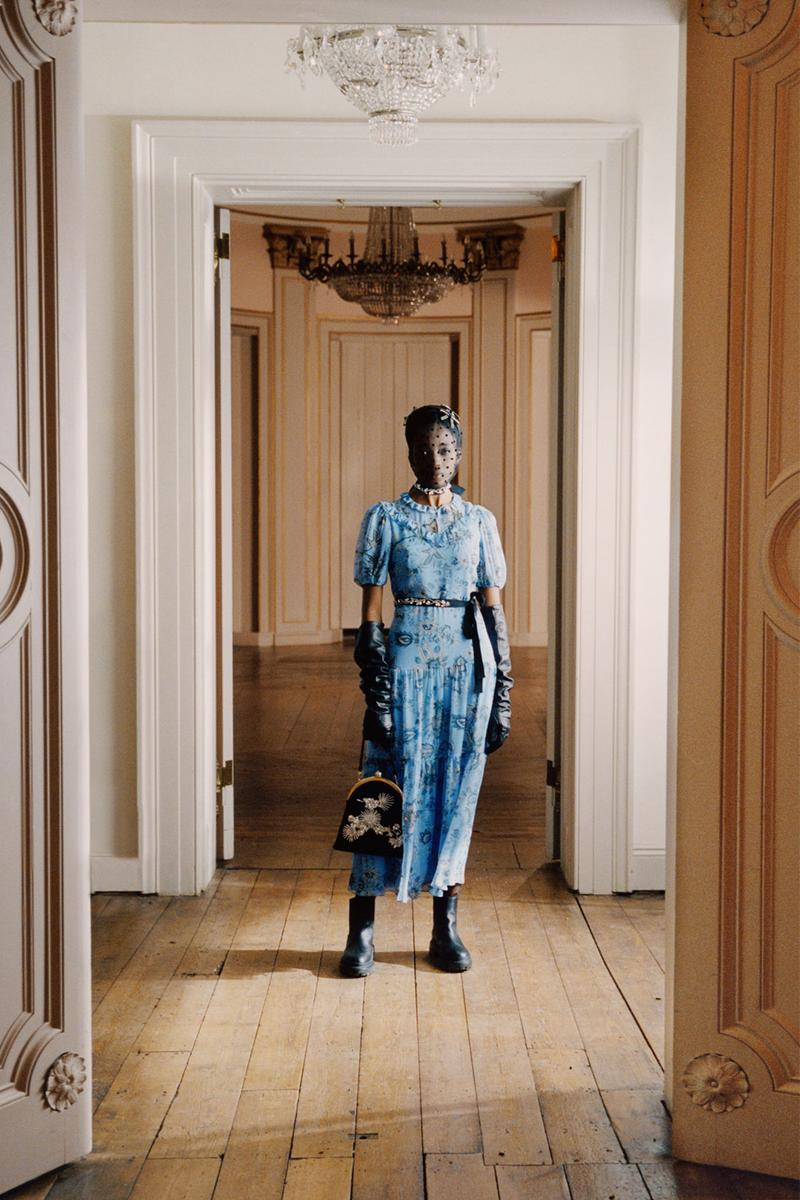erdem moralioglu pre-fall 2021 collection lookbook nancy mitford floral blue dress