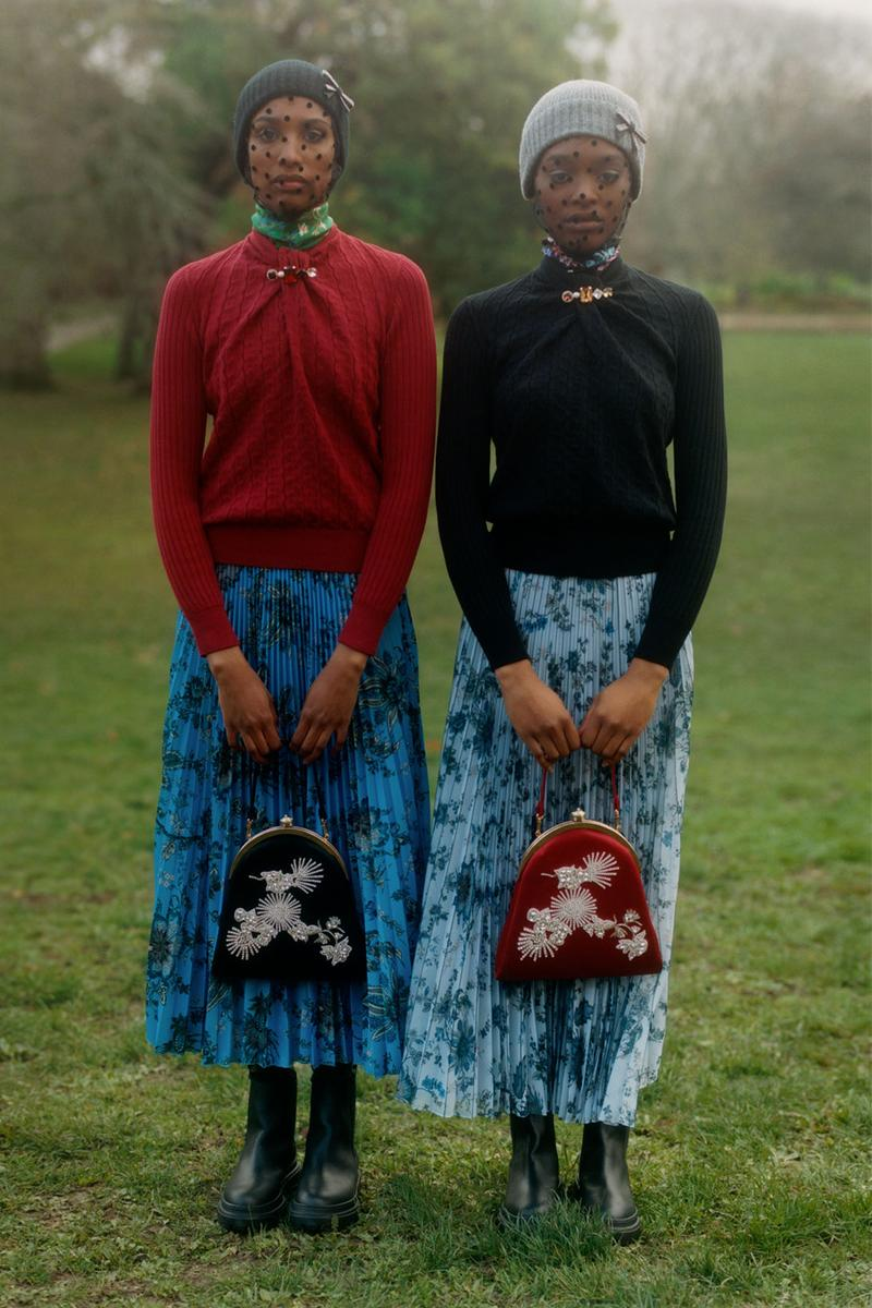 erdem moralioglu pre-fall 2021 collection lookbook nancy mitford pleated skirts floral red black sweaters