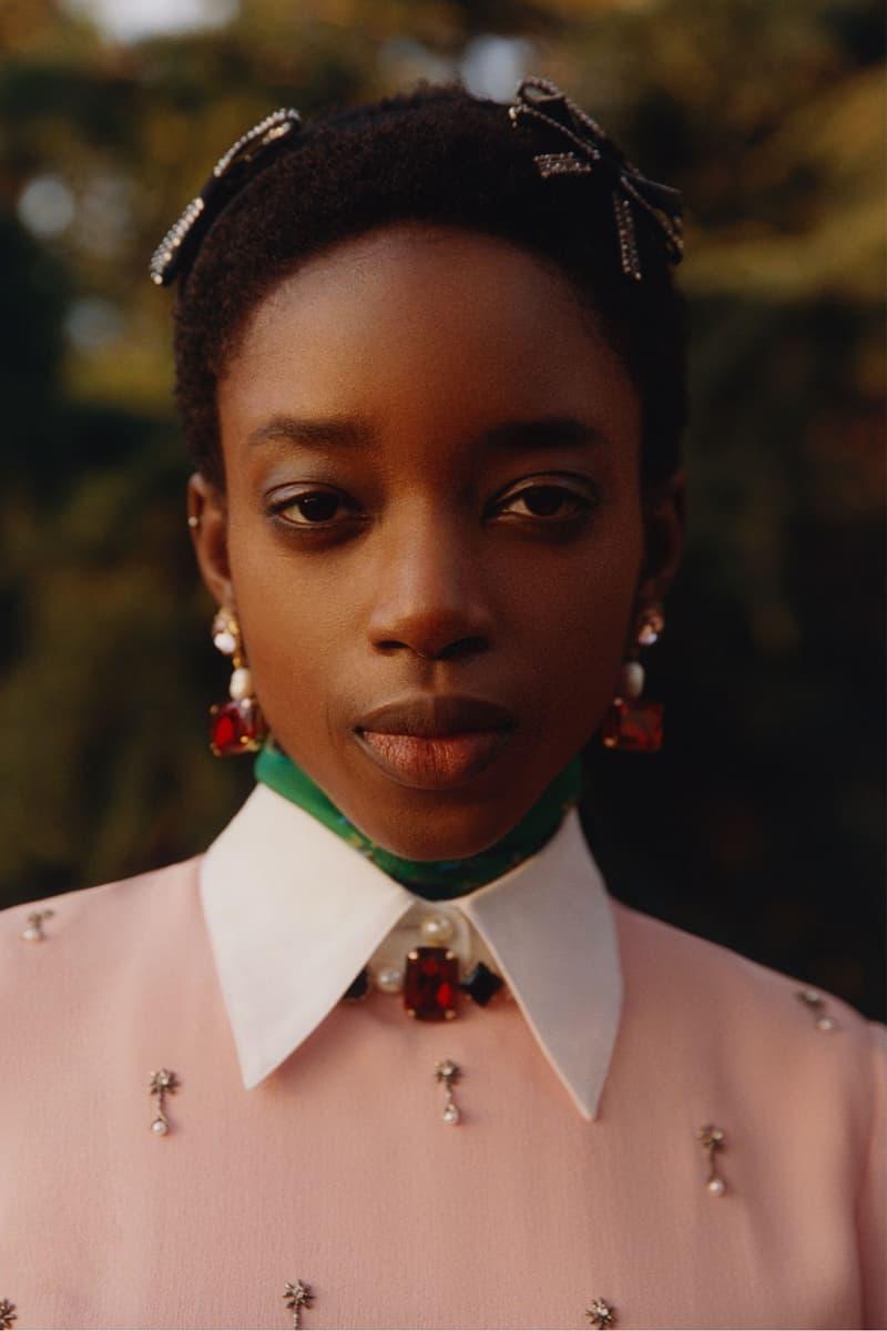 erdem moralioglu pre-fall 2021 collection lookbook nancy mitford beauty look earrings white collars pink sweater