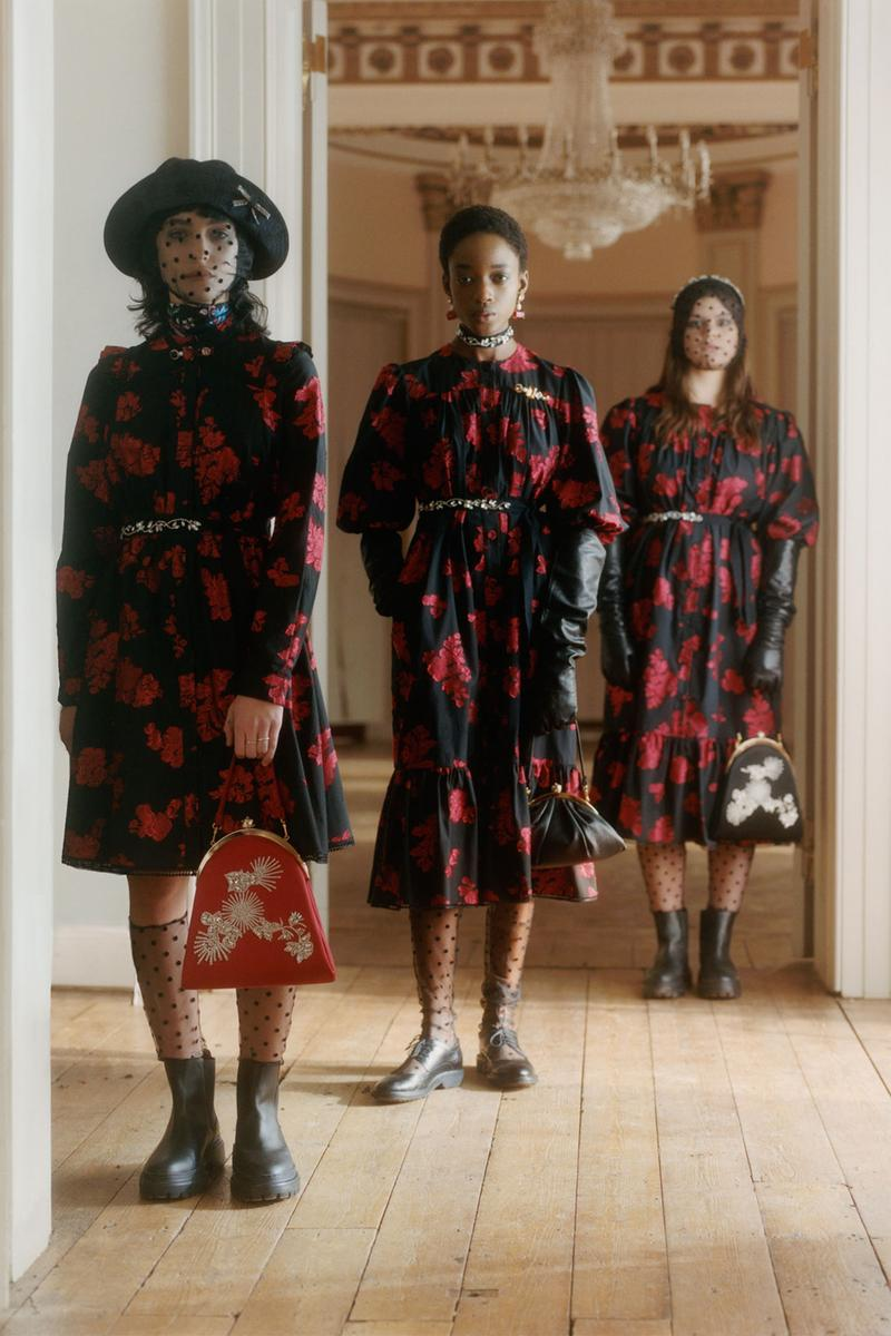 erdem moralioglu pre-fall 2021 collection lookbook nancy mitford floral red black dresses