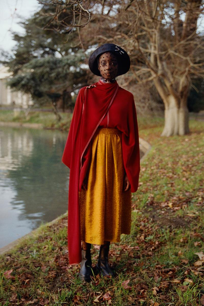 erdem moralioglu pre-fall 2021 collection lookbook nancy mitford red yellow skirt