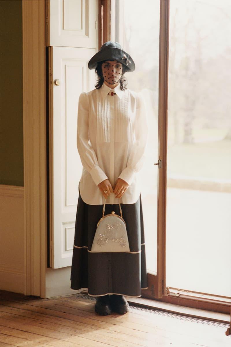 erdem moralioglu pre-fall 2021 collection lookbook nancy mitford white pleated shirt skirt