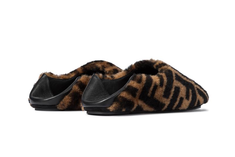 Fendi FF Shearling Slippers Zucca Print Pattern Logo Brown Black Leather House Shoes