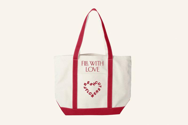 fresh cut flowers valentines day vtines hearts tote bag red white fill with love