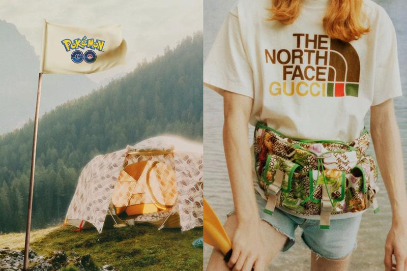 gucci the north face pokemon go collaboration teaser flag tee tshirt tent