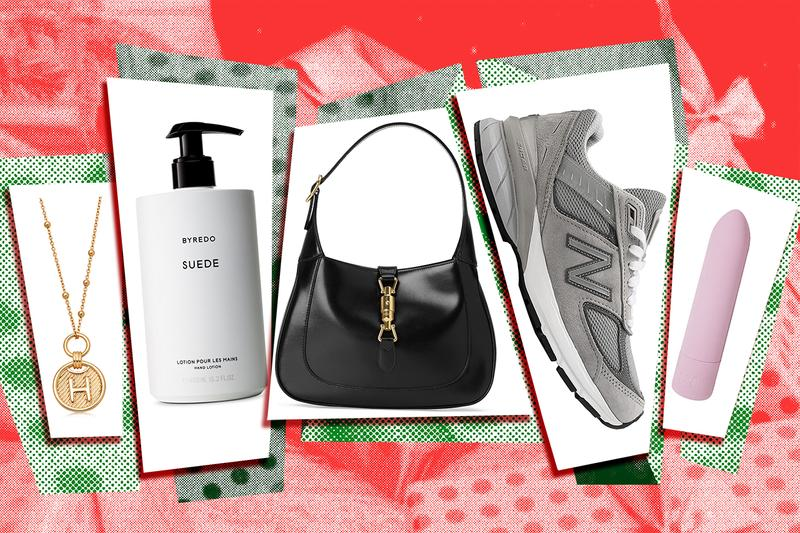 Holiday Gifts Missoma Initial Gold Necklace Byredo Suede Hand Lotion Gucci Jackie 1961 Hobo Bag Black New Balance 990v5 Sneaker Unbound Sex Toy