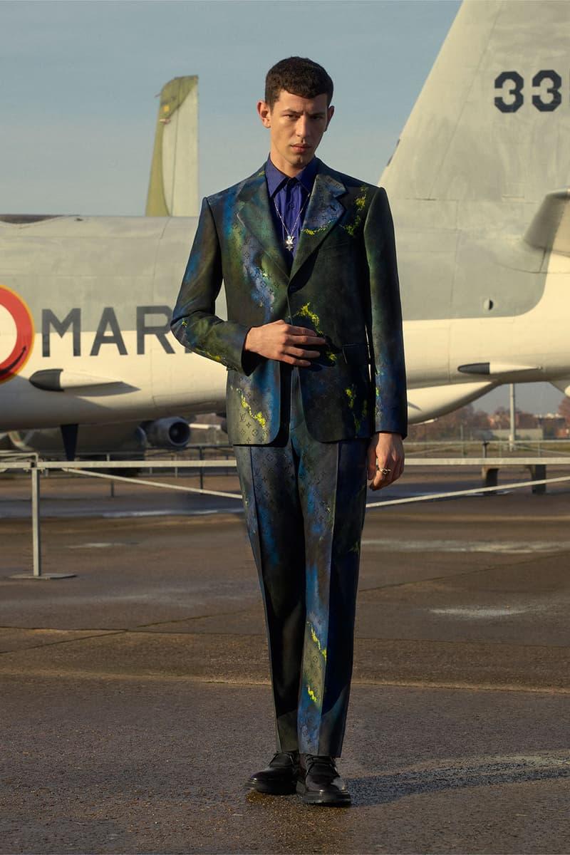 louis vuitton mens pre-fall 2021 collection lookbook virgil abloh paint lv monogram tailored suit