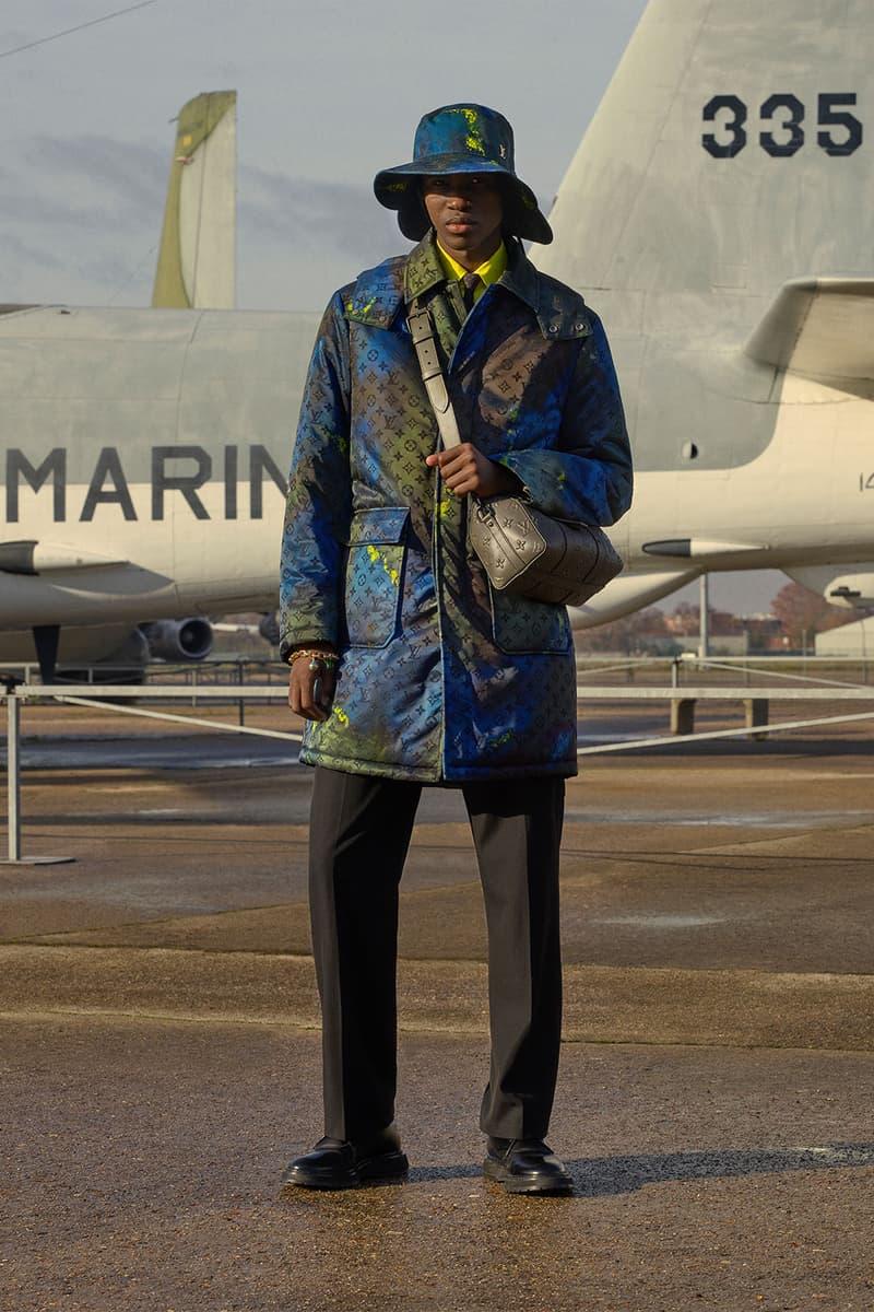 louis vuitton mens pre-fall 2021 collection lookbook virgil abloh paint yellow blue monogram coat jacket hat