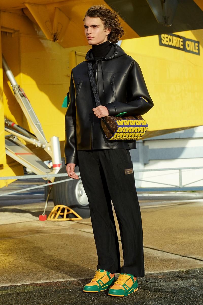 louis vuitton mens pre-fall 2021 collection lookbook virgil abloh leather jacket green yellow sneakers