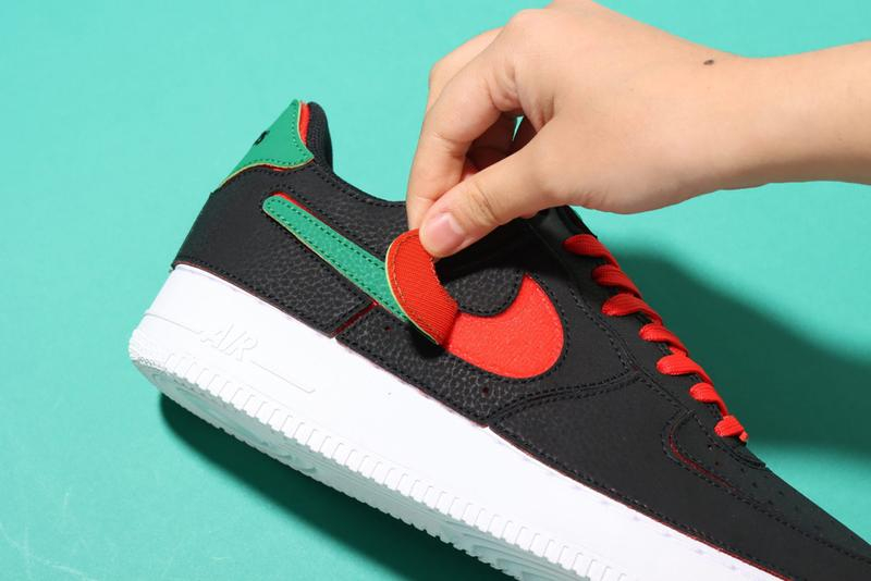 nike air force 1/1 customizable af1 sneakers velcro black chile red pine green release price info