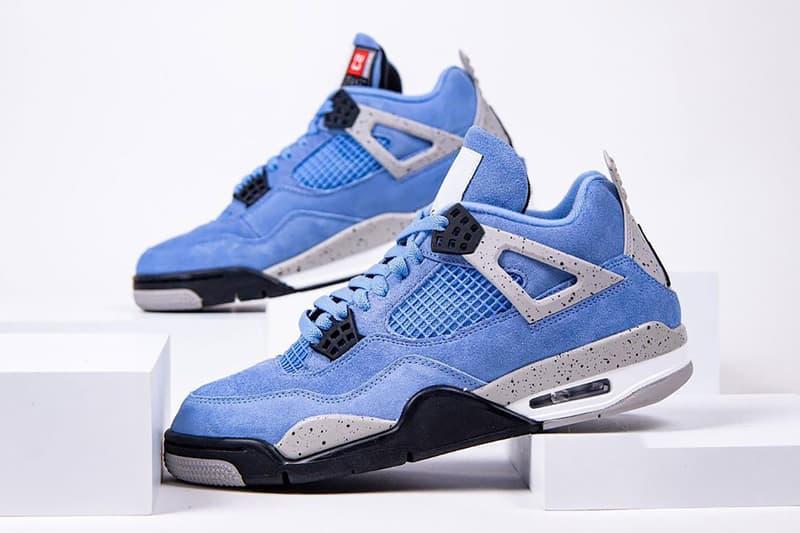 nike air jordan 4 sneakers university blue white colorway shoes footwear sneakerhead
