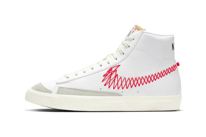 nike blazer mid 77 vintage zig zag stitched swoosh bright crimson orange white sneakers