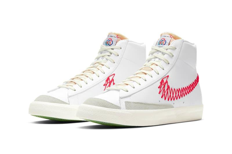 nike blazer mid 77 vintage zig zag stitched swoosh bright crimson orange white sneakers front view