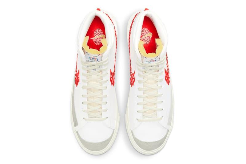 nike blazer mid 77 vintage zig zag stitched swoosh bright crimson orange white sneakers top upper