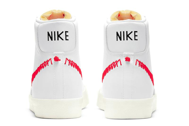 nike blazer mid 77 vintage zig zag stitched swoosh bright crimson orange white sneakers back heel rear ankle