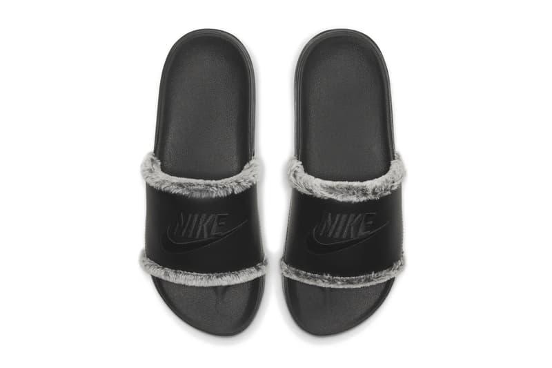 Nike Logo Slides Plush Faux Fur Lining Black Indoor Footwear Shoes Grey