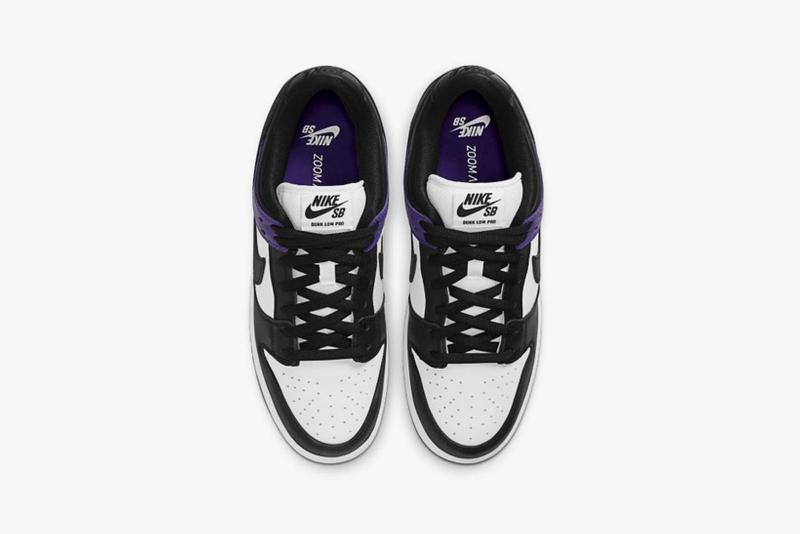 nike sb dunk low court purple black white sneakers official look release top view
