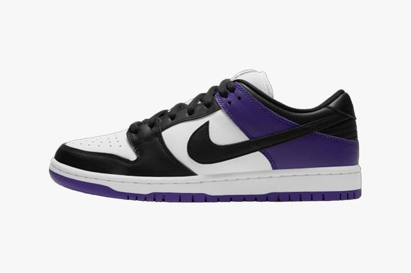 nike sb dunk low court purple black white sneakers official look release laterals
