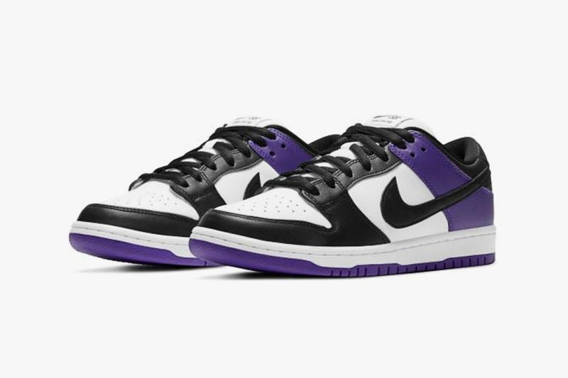 nike sb dunk low court purple black white sneakers official look release