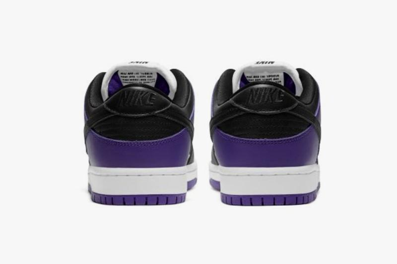 nike sb dunk low court purple black white sneakers official look release rear heel tabs