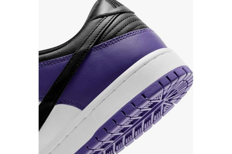 nike sb dunk low court purple black white sneakers official look release close up details