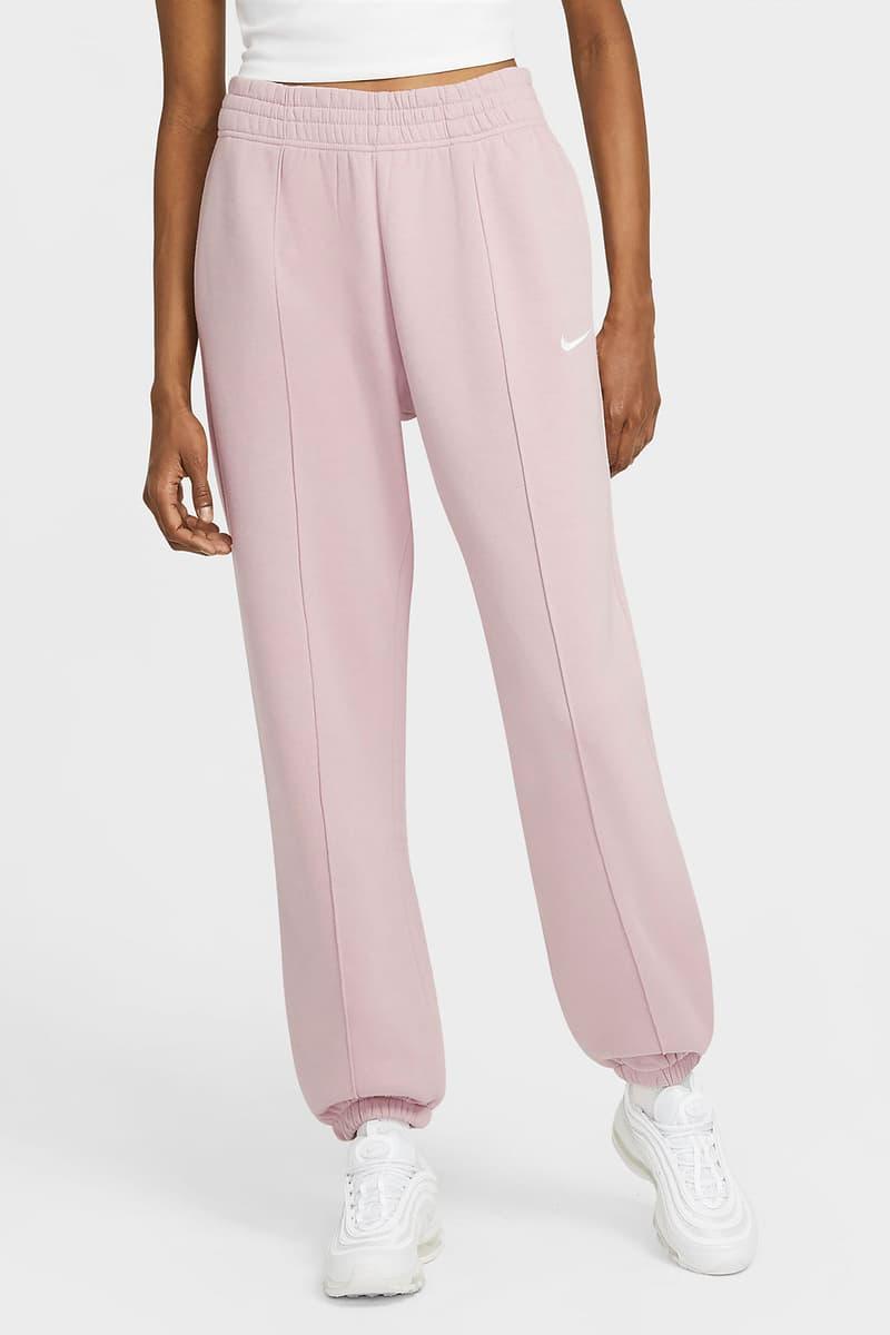 nike sportswear womens fleece sweatpants loungewear pastel pink