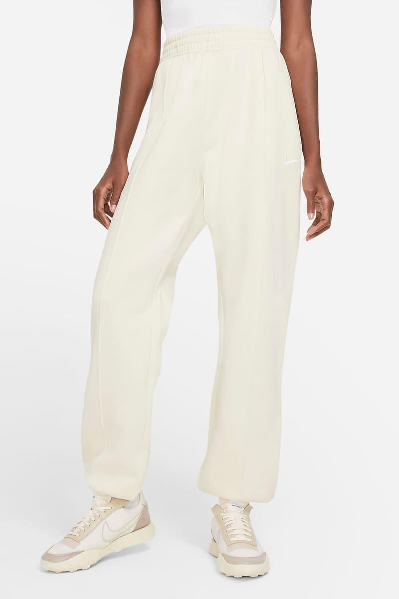 nike sportswear womens fleece sweatpants loungewear cream white