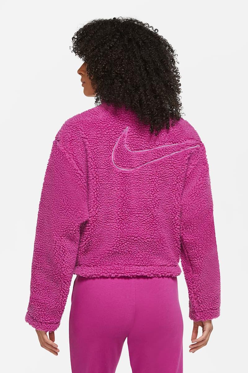 nike sportswear womens swoosh shearling jacket pink white fashion